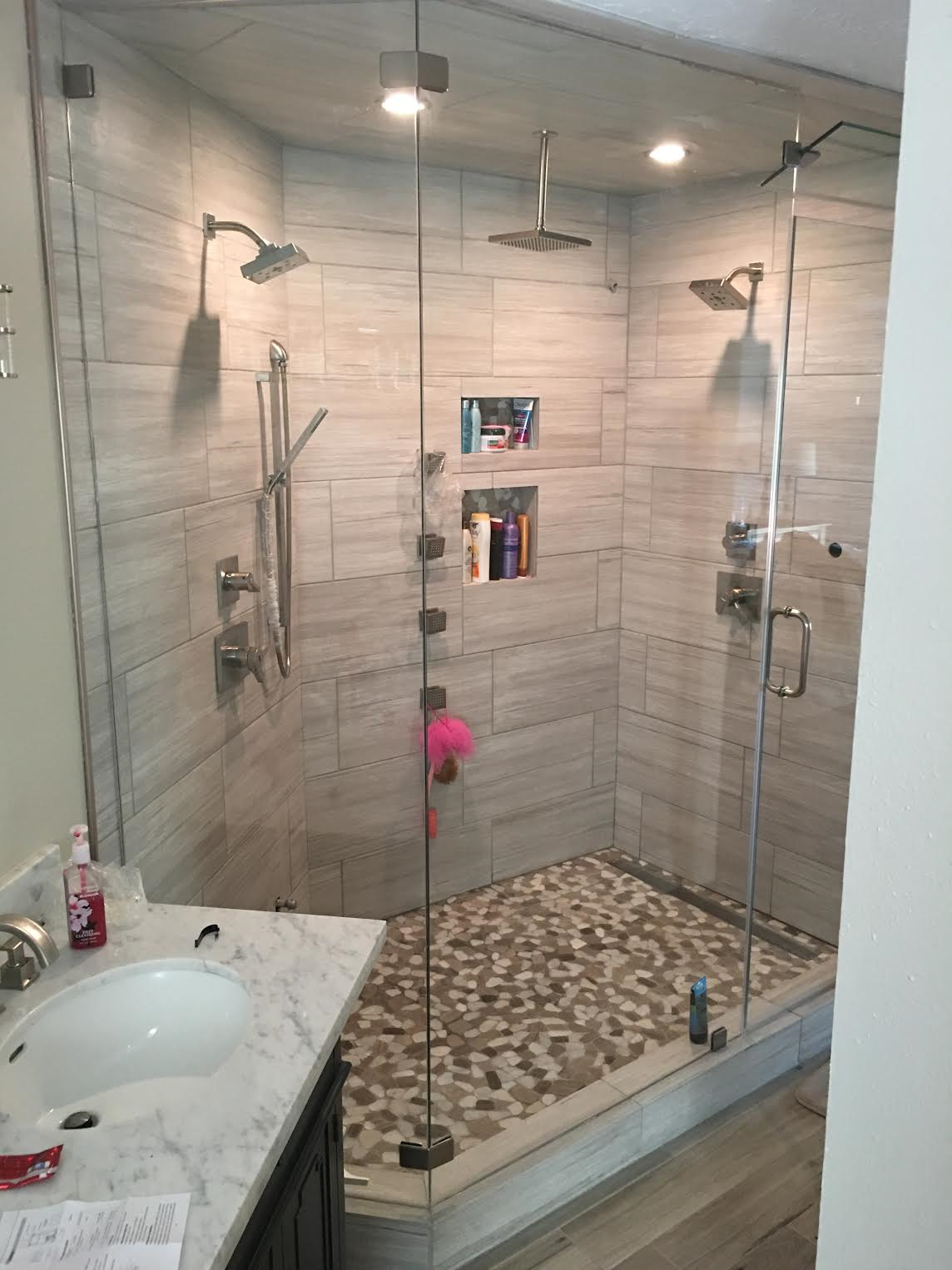 Houston Remodeling Contractors Contructs A New Rain Shower with ...